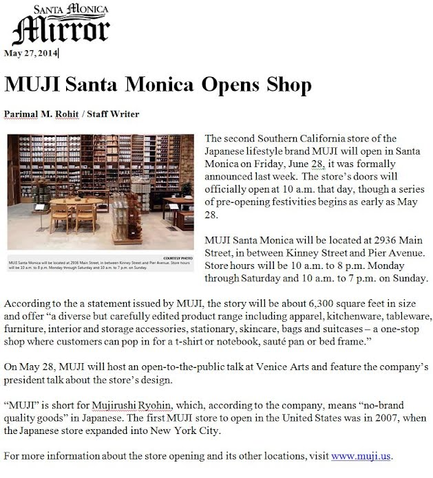 Santa Monica - Muji Opens Second Store - Lushing Realty Advisors